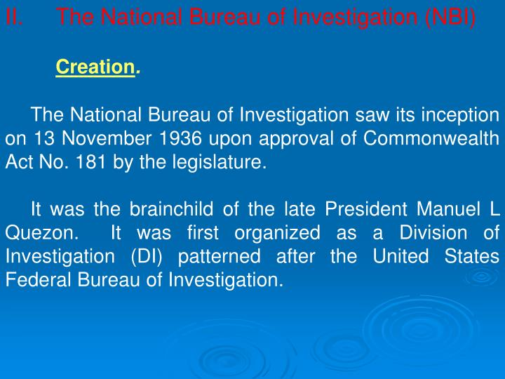 II.The National Bureau of Investigation (NBI)