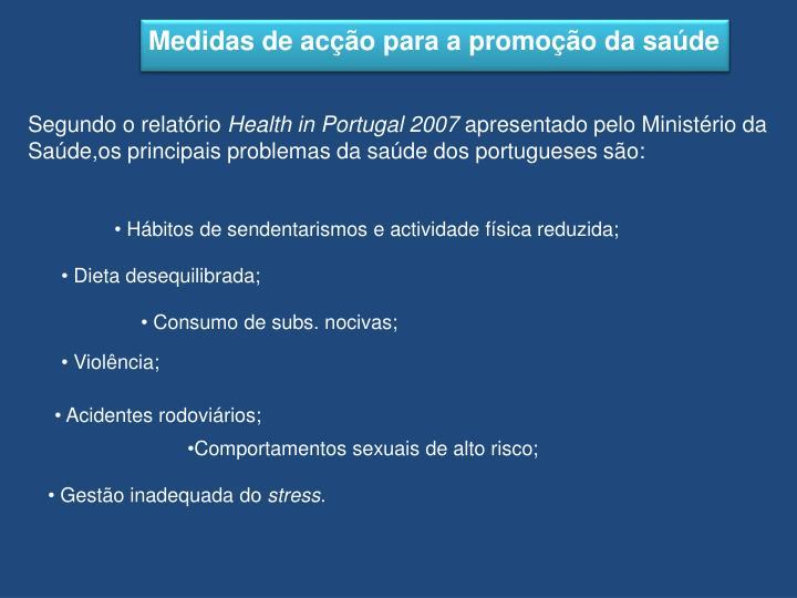 Medidas de acção para a promoção da saúde
