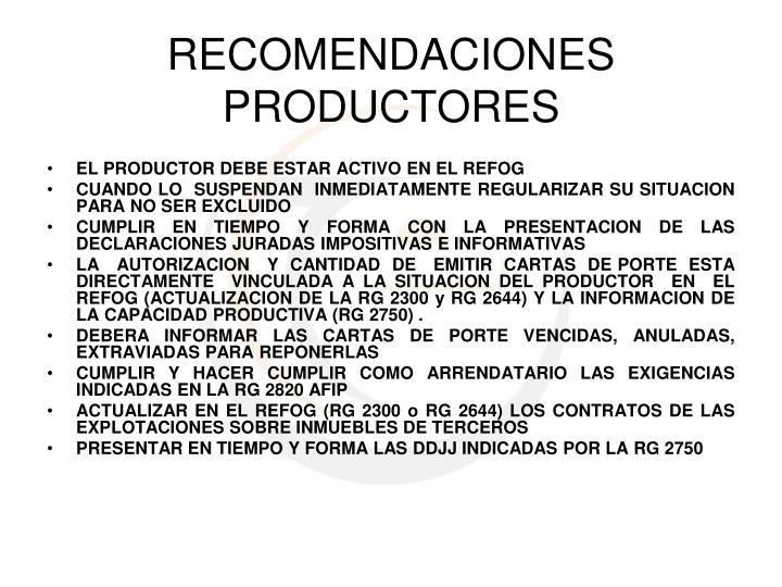 EL PRODUCTOR DEBE ESTAR ACTIVO EN EL REFOG