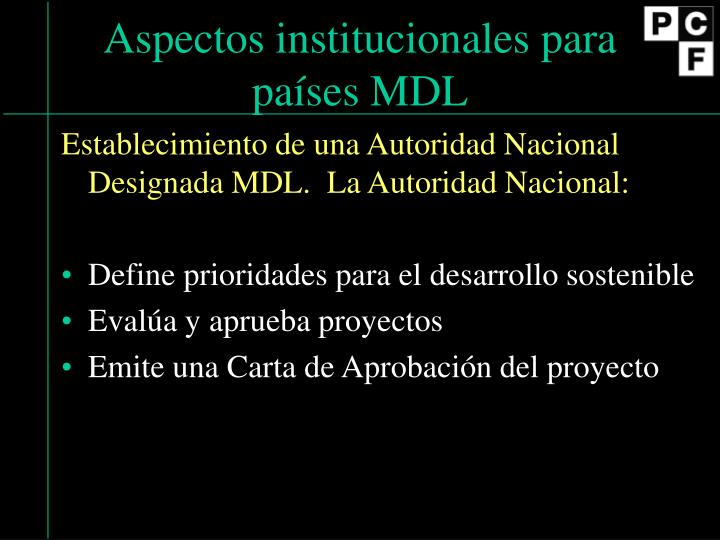 Aspectos institucionales para pa