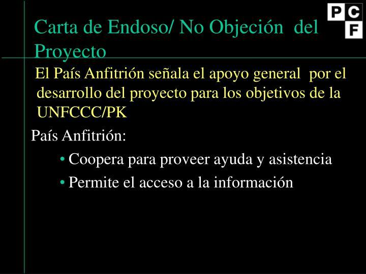 Carta de Endoso/ No Objeci