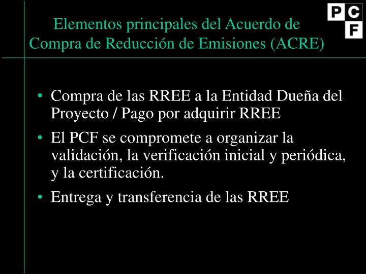 Elementos principales del Acuerdo de Compra de Reducción de Emisiones (ACRE)
