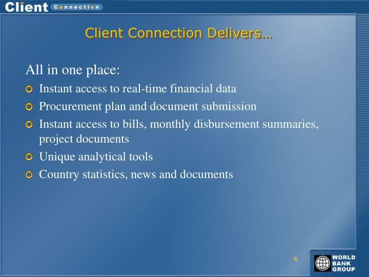 Client Connection Delivers…