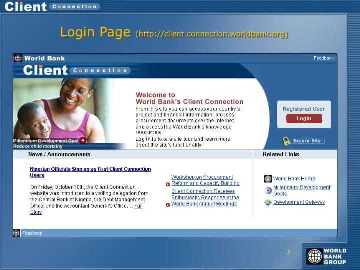 Login page http client connection worldbank org