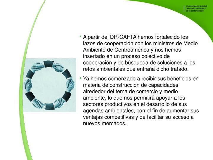 A partir del DR-CAFTA hemos fortalecido los lazos de cooperacin con los ministros de Medio Ambiente de Centroamrica y nos hemos insertado en un proceso colectivo de cooperacin y de bsqueda de soluciones a los retos ambientales que entraa dicho tratado.
