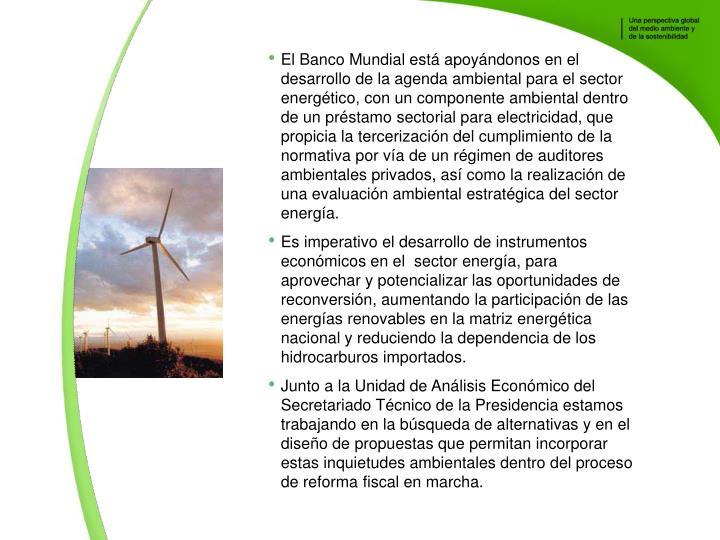 El Banco Mundial est apoyndonos en el desarrollo de la agenda ambiental para el sector energtico, con un componente ambiental dentro de un prstamo sectorial para electricidad, que propicia la tercerizacin del cumplimiento de la normativa por va de un rgimen de auditores ambientales privados, as como la realizacin de una evaluacin ambiental estratgica del sector energa.