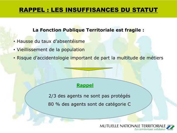 RAPPEL : LES INSUFFISANCES DU STATUT
