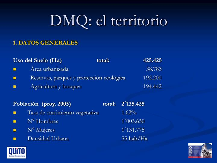 DMQ: el territorio