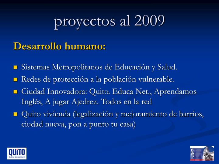 proyectos al 2009