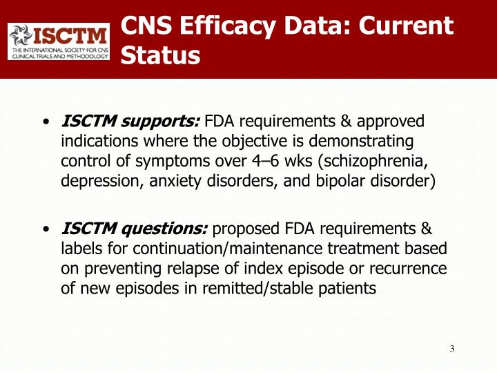 Cns efficacy data current status