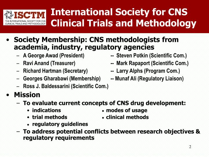 International society for cns clinical trials and methodology1