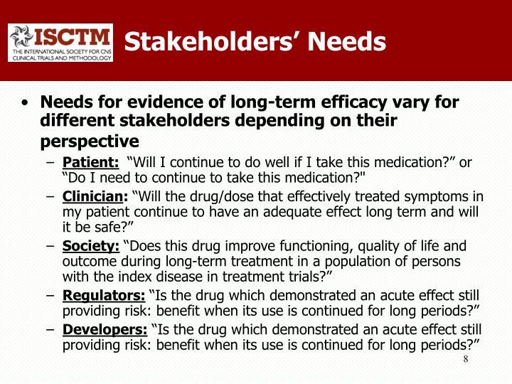 Stakeholders' Needs