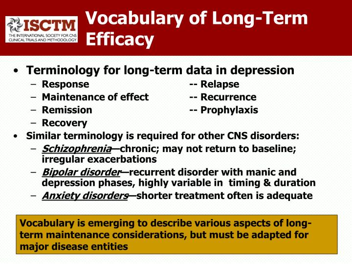 Vocabulary of Long-Term Efficacy