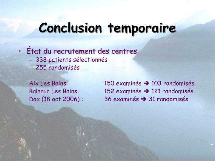 Conclusion temporaire