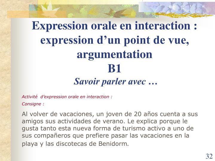 Expression orale en interaction : expression d'un point de vue, argumentation