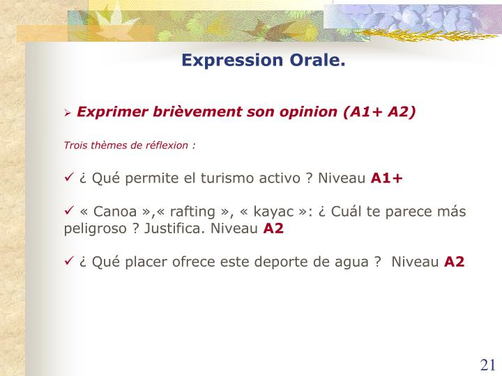 Expression Orale.