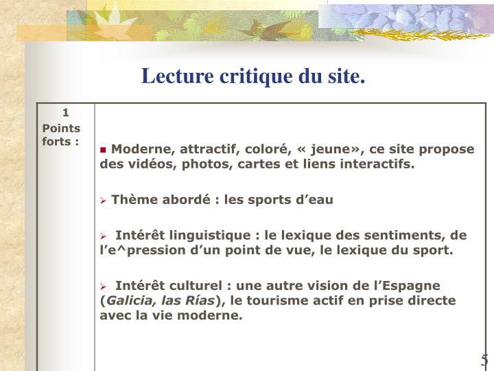 Lecture critique du site.