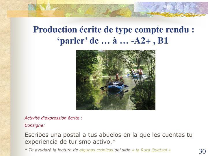 Production écrite de type compte rendu : 'parler' de … à … -A2+ , B1