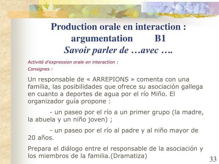 Production orale en interaction : argumentation         B1