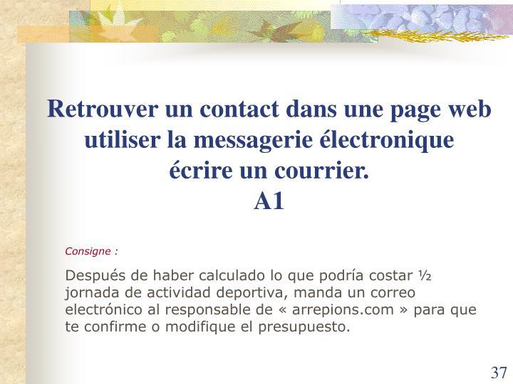 Retrouver un contact dans une page web