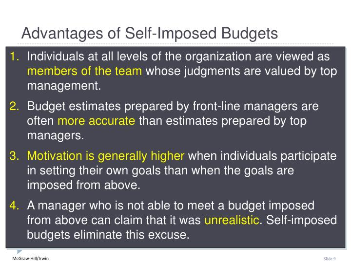 Advantages of Self-Imposed Budgets