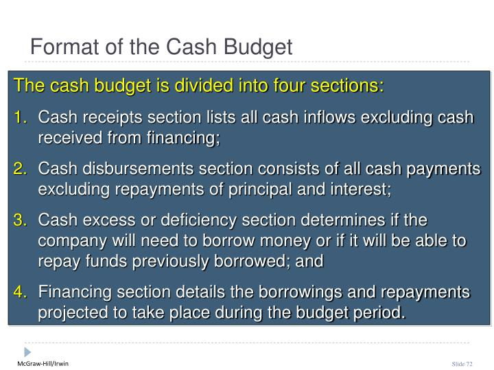 Format of the Cash Budget