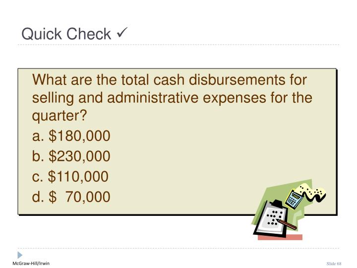 What are the total cash disbursements for