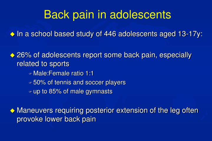Back pain in adolescents