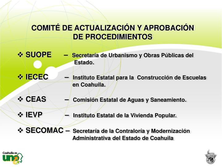 COMITÉ DE ACTUALIZACIÓN Y APROBACIÓN