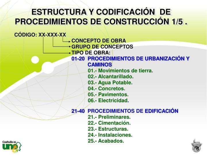 ESTRUCTURA Y CODIFICACIÓN  DE  PROCEDIMIENTOS DE CONSTRUCCIÓN 1/5 .