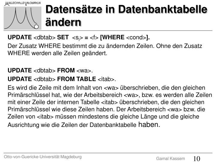 Datensätze in Datenbanktabelle ändern