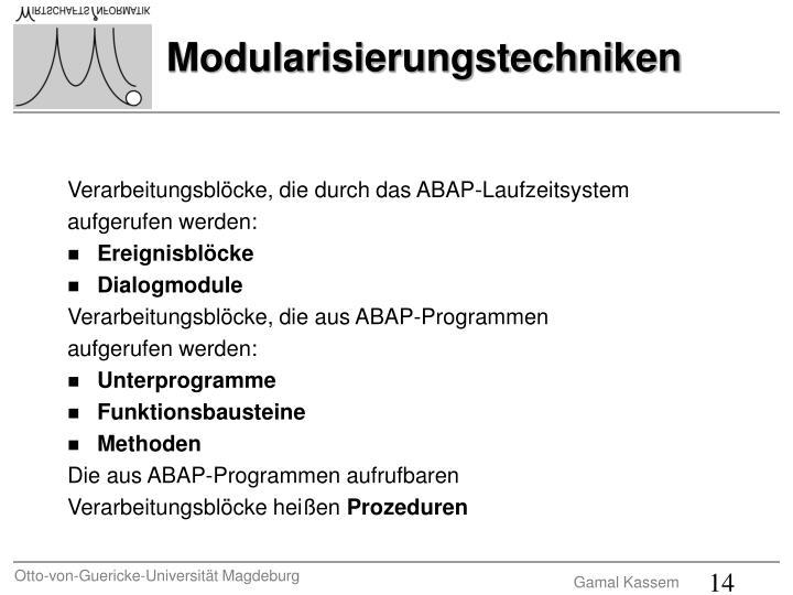 Verarbeitungsblöcke, die durch das ABAP-Laufzeitsystem