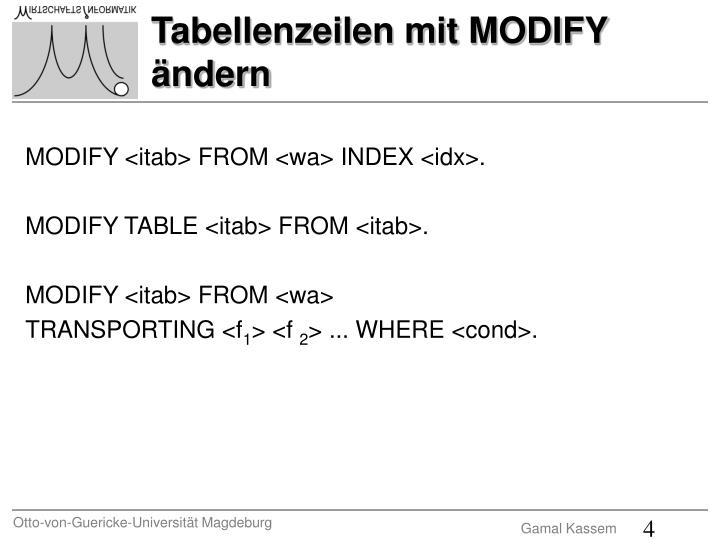 MODIFY <itab> FROM <wa> INDEX <idx>.