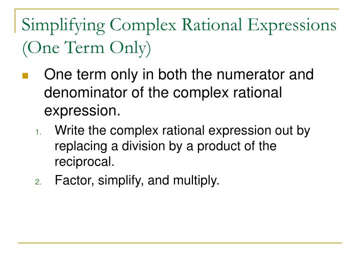 Simplifying Complex Rational Expressions