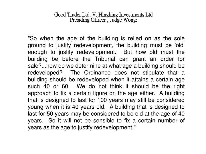 Good Trader Ltd. V. Hingking Investments Ltd