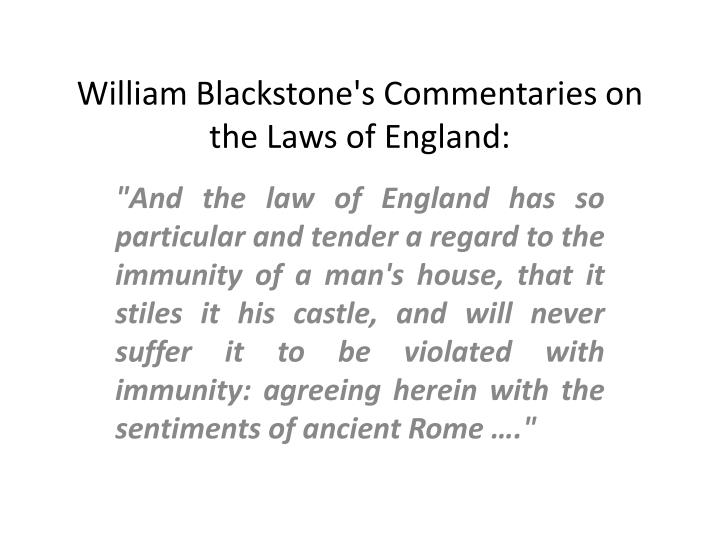 William Blackstone's Commentaries on the Laws of England: