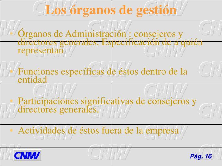Órganos de Administración : consejeros y directores generales. Especificación de a quién representan