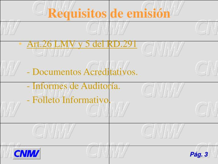 Requisitos de emisi n