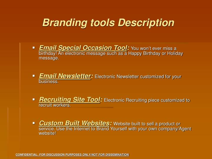 Branding tools Description