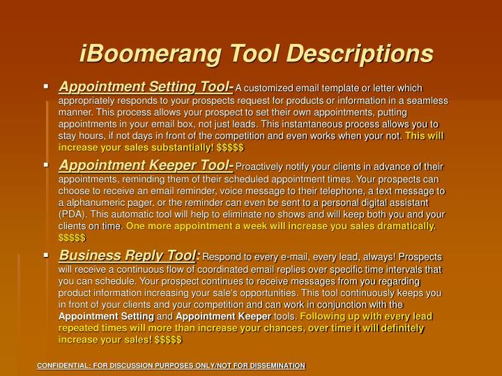 iBoomerang Tool Descriptions