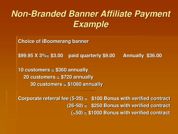 Non-Branded Banner Affiliate Payment Example