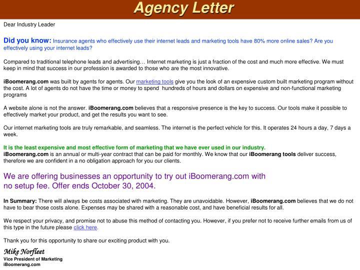 Agency Letter