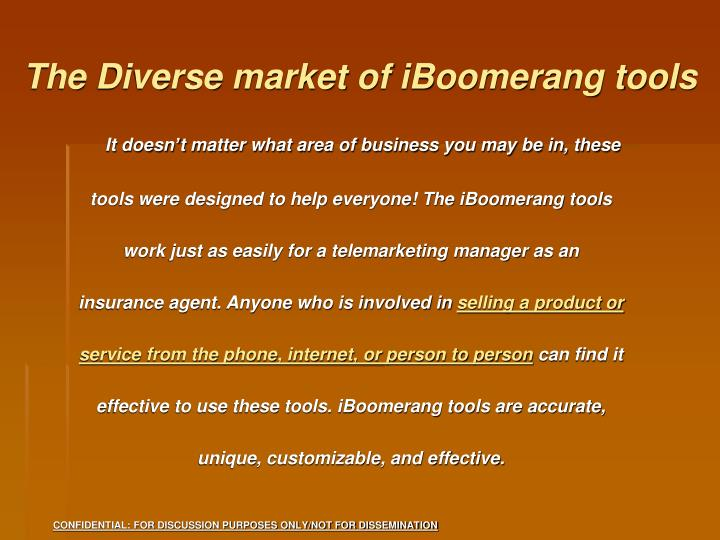 The Diverse market of iBoomerang tools