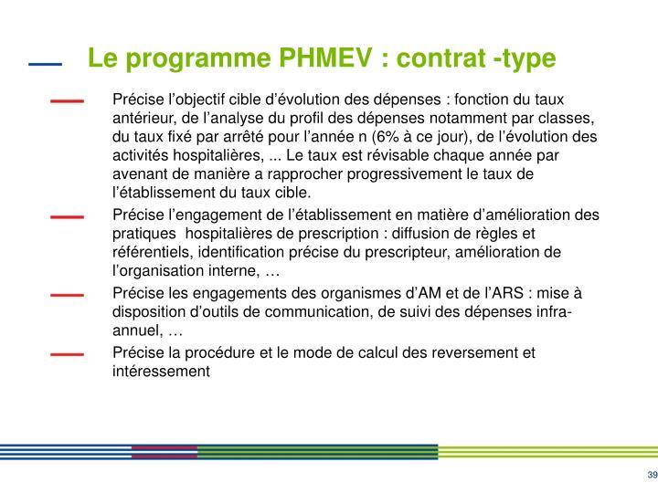 Le programme PHMEV : contrat -type