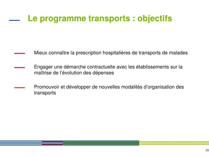 Le programme transports : objectifs