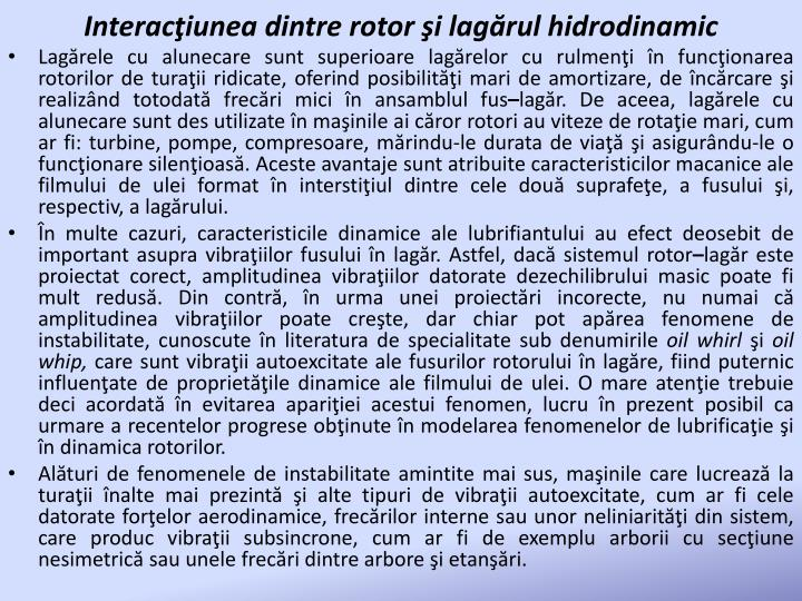 Interacţiunea dintre rotor şi lagărul hidrodinamic