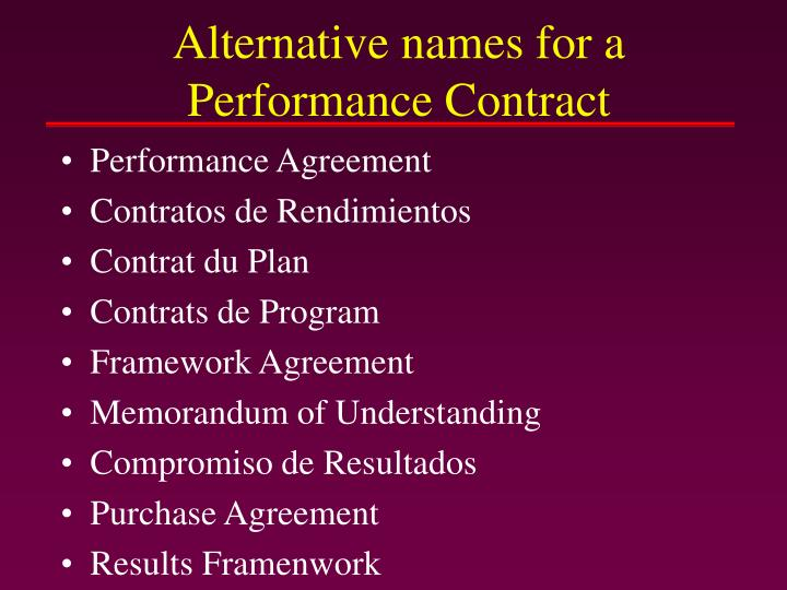 Alternative names for a Performance Contract