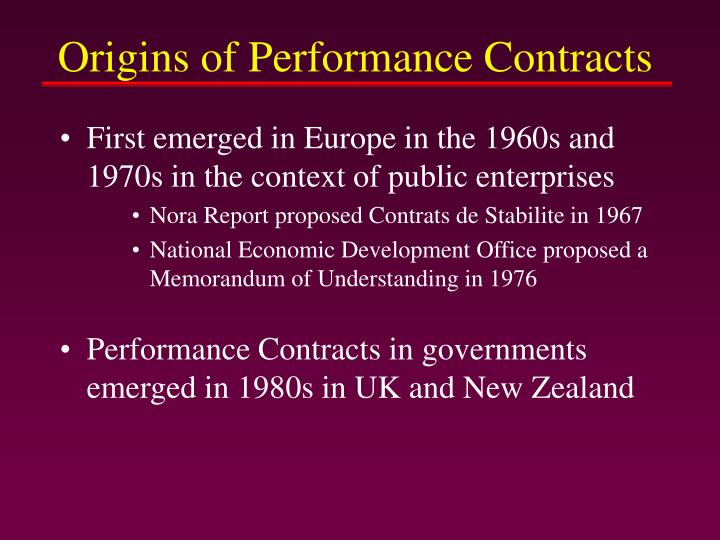 Origins of Performance Contracts