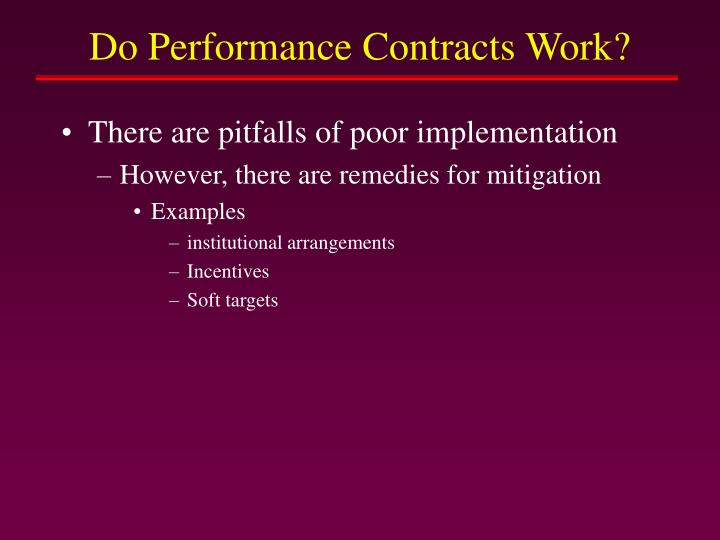 Do Performance Contracts Work?