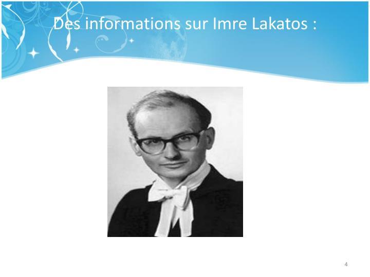 Des informations sur Imre Lakatos: